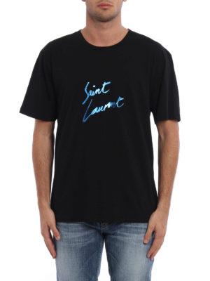 Saint Laurent: t-shirts online - T-shirt with printed signature