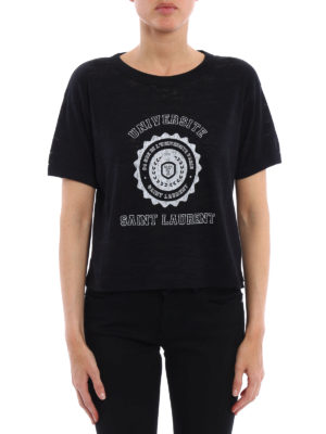 Saint Laurent: t-shirts online - Universite print crop T-shirt