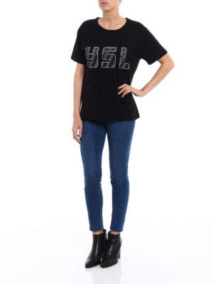 Saint Laurent: t-shirts online - YSL print black Tee