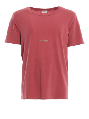 SAINT LAURENT: t-shirt - T-shirt rossa sbiadita con logo