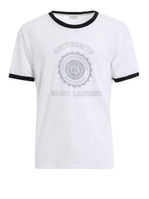 Saint Laurent: t-shirts - SL Université cotton T-shirt