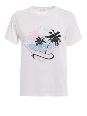 Saint Laurent: t-shirts - Young Romance print cotton T-shirt