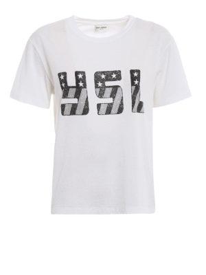 Saint Laurent: t-shirts - YSL print white T-shirt