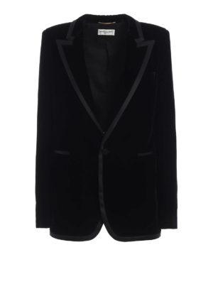 SAINT LAURENT: giacche sartoriali - Giacca lunga da sera in velluto nero