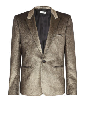 SAINT LAURENT: giacche sartoriali - Blazer in velluto glitterato color oro