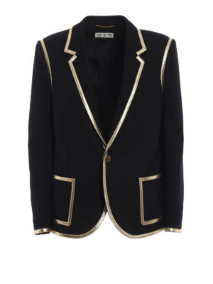 SAINT LAURENT: giacche sartoriali - Blazer in lana finiture in pelle