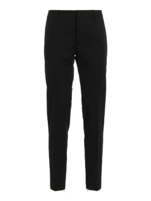 Saint Laurent: Tailored & Formal trousers - Embellished slim fit wool trousers