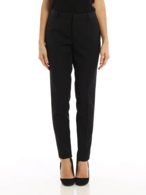 Saint Laurent: Tailored & Formal trousers online - Embellished slim fit wool trousers