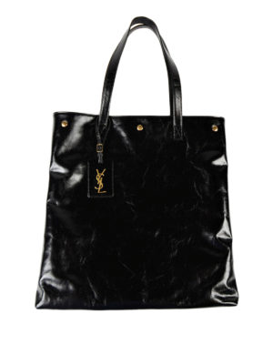 Saint Laurent: totes bags - Noe cracked shiny leather tote