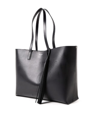 Saint Laurent: totes bags online - Drilled YSL vintage leather tote