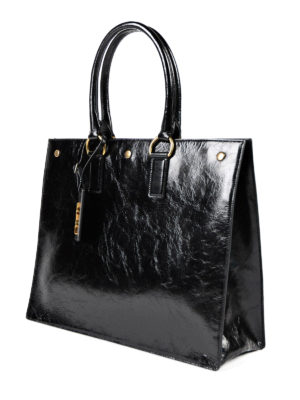 Saint Laurent: totes bags online - Noe cracked shiny leather tote