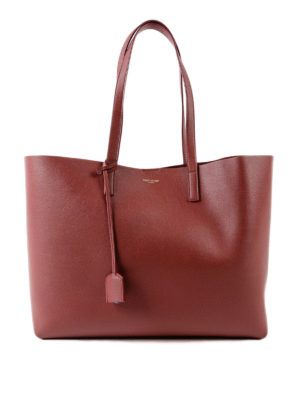 SAINT LAURENT: shopper - Tote in pelle rossa