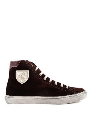 SAINT LAURENT: sneakers - Sneaker alte in suede barolo Bedford