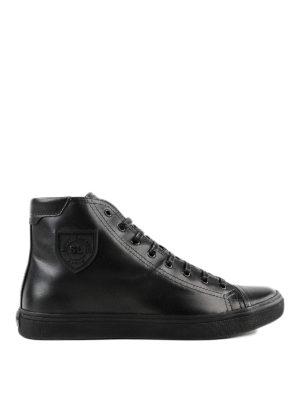 SAINT LAURENT: sneakers - Sneaker alte in pelle spazzolata Bedford