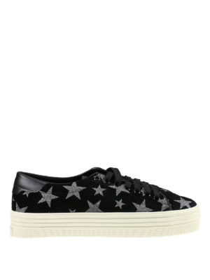 Saint Laurent: trainers - Glitter stars detail suede sneakers