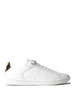 Saint Laurent: trainers - Lips patch leather sneakers