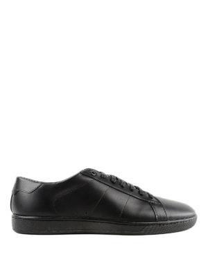 SAINT LAURENT: sneakers - Sneaker Signature in pelle spazzolata nera