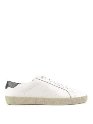 SAINT LAURENT: sneakers - Sneaker Signature in pelle spazzolata bianca