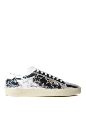 Saint Laurent: trainers - Star mirrored leather sneakers