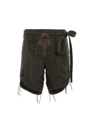 Saint Laurent: Trousers Shorts - Gabardine shorts with multi strap