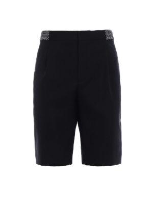 Saint Laurent: Trousers Shorts - Ikat embroidered wool short pants