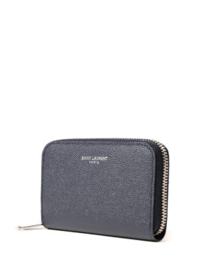 Saint Laurent: wallets & purses online - Zip around grainy leather wallet