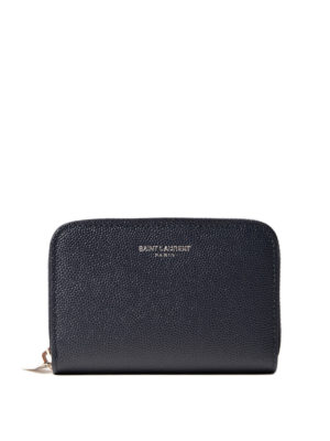 Saint Laurent: wallets & purses - Zip around grainy leather wallet