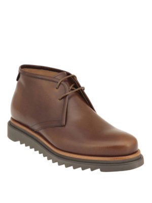 Salvatore Ferragamo: ankle boots online - Polished leather chukka boots