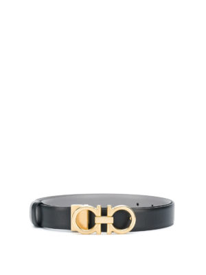 SALVATORE FERRAGAMO: cinture - Cintura reversibile in pelle nera e grigia