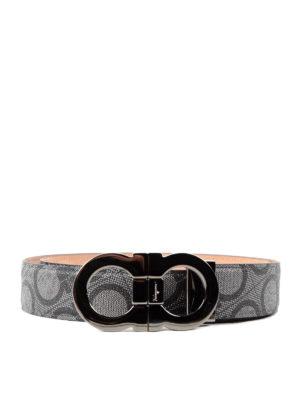Salvatore Ferragamo: belts - Double Gancio print leather belt