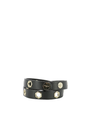 Salvatore Ferragamo: belts - Flower eyelet black leather belt