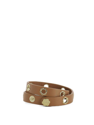 Salvatore Ferragamo: belts - Flower eyelet brown leather belt