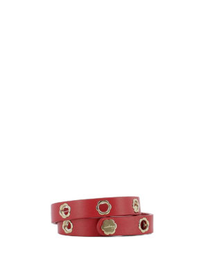 Salvatore Ferragamo: belts - Flower eyelet red leather belt