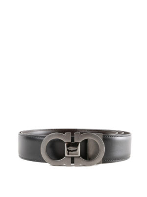 SALVATORE FERRAGAMO: cinture - Cintura Gancini reversibile nera e marrone