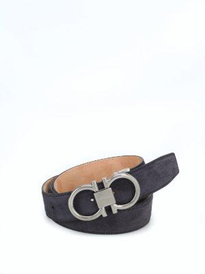SALVATORE FERRAGAMO: cinture - Cintura in suede con fibbia argento Gancini