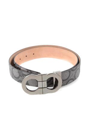 Salvatore Ferragamo: belts online - Double Gancio print leather belt