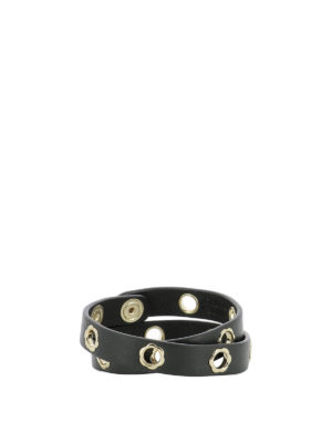 Salvatore Ferragamo: belts online - Flower eyelet black leather belt