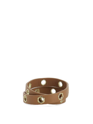 Salvatore Ferragamo: belts online - Flower eyelet brown leather belt