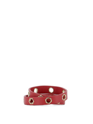 Salvatore Ferragamo: belts online - Flower eyelet red leather belt