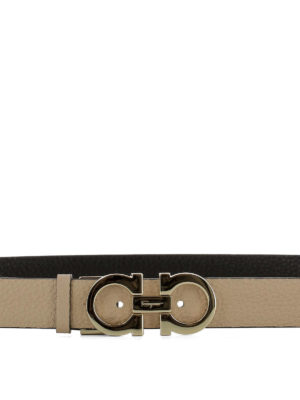 Salvatore Ferragamo: belts online - Gancini double leather belt