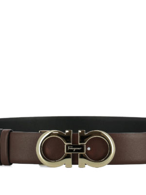 Salvatore Ferragamo: belts online - Gancini reversible brown belt