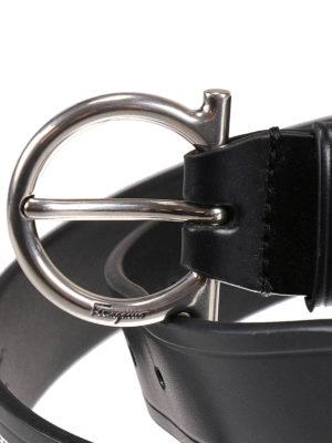 Salvatore Ferragamo: belts online - Metal Gancio buckle leather belt