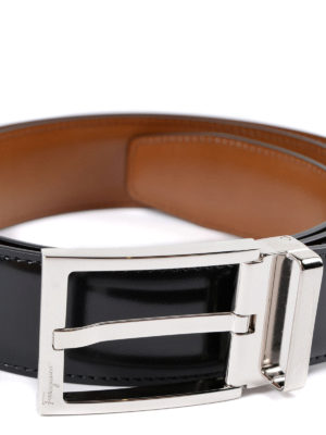 Salvatore Ferragamo: belts online - Reversible brushed leather belt