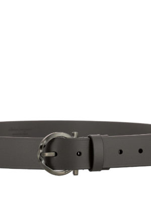 Salvatore Ferragamo: belts online - Signature buckle grey leather belt