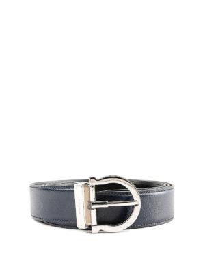 SALVATORE FERRAGAMO: cinture - Cintura in pelle blu fibbia logo argentata