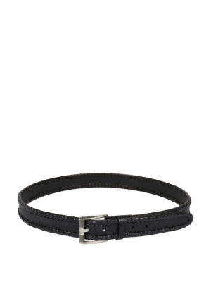 Salvatore Ferragamo: belts - Woven and printed leather belt