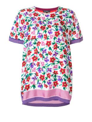 SALVATORE FERRAGAMO: bluse - Blusa a fiori e righe