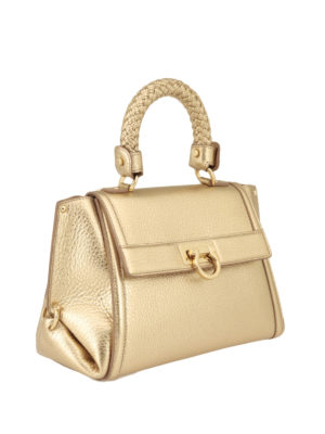 Salvatore Ferragamo: bowling bags online - Sofia woven handle leather bag