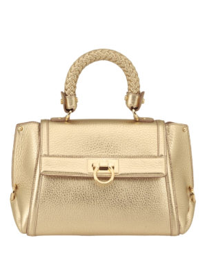 Salvatore Ferragamo: bowling bags - Sofia woven handle leather bag
