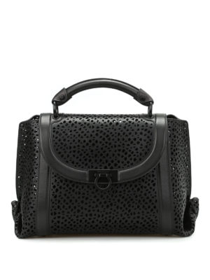 Salvatore Ferragamo: bowling bags - Soft Sofia laser cut medium handbag